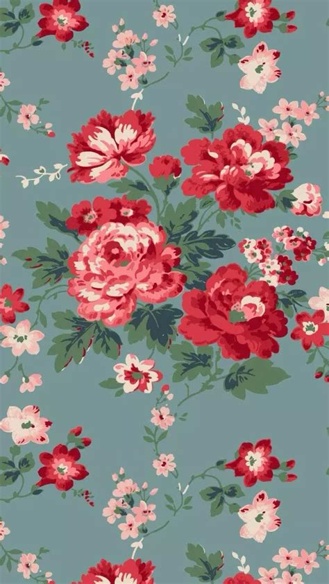 flower pattern lock blue grey red pink vintage floral flowers iphone