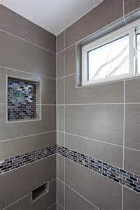 Glass Tile Accent Wall Bathroom Grey Porcelain Tile Was Chosen For The Floor Shower Walls