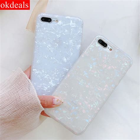 okdeals fashion seashell texture imd phone for iphone 8 8 plus smooth pattern for