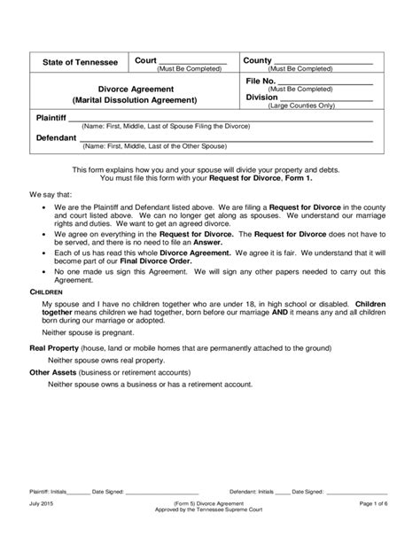 tennessee divorce forms  templates   word