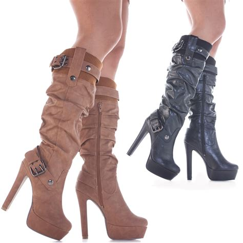 high heel boots stiletto style slim heeled high heel platform