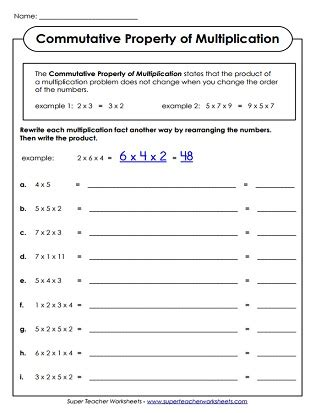 distributive property of multiplication worksheets 3rd