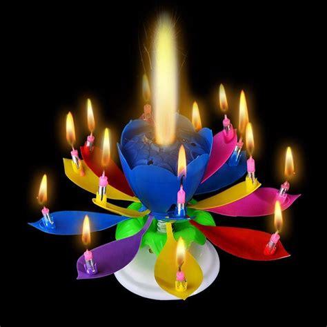 kerzenhalter blume cake topper lotus flower musical decoration birthday