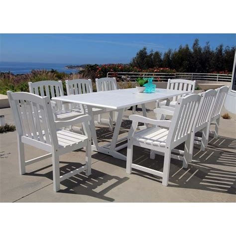White Patio Dining Set 9 Extendable Hardwood Patio Dining Set In White V1334set16
