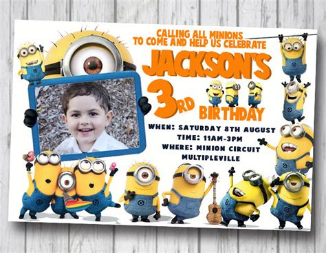 minion card template stirring minions birthday invitations theruntime