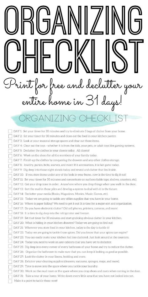 organize my house checklist organizing checklist declutter your home in 31 days