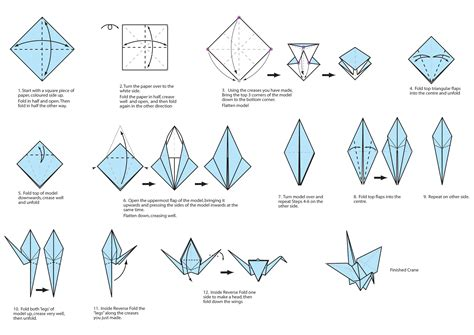 Origami Crane Diagram - guide on how to create a colorful rainbow diy crane