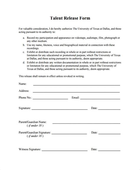 Talent Release Form Template Staruptalent Com Talent Contract Template