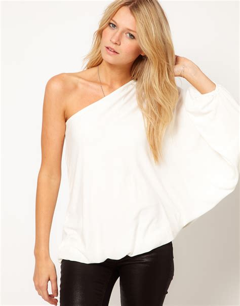 one best asos top with one shoulder volume sleeve in white lyst
