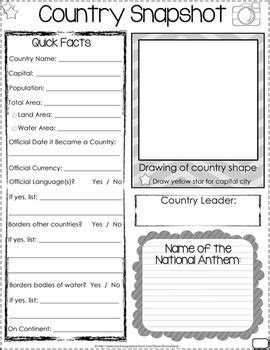 continent report template country report editable social studies students and
