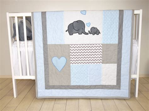 Gray Elephant Crib Bedding Elephant Baby Quilt Blue Gray Crib Bedding Chevron Elephant