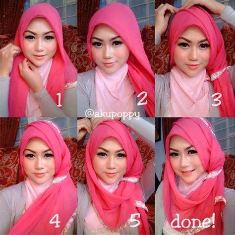 tutorial hijab pesta warna hitam cara berhijab modern untuk wajah bulat dan pipi chubby