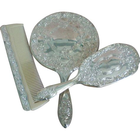 Vanity Set Brush Comb Mirror by Nouveau Silver Plated Mirror Brush Comb Vanity Set