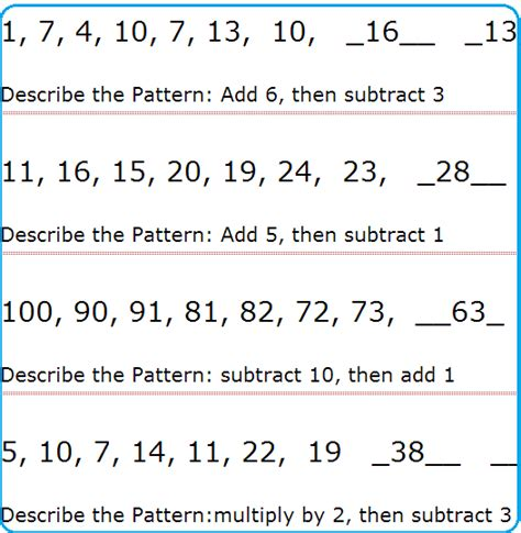 pattern and math pattern math questions
