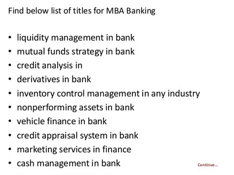 Mba In Banks by Project Report Titles For Mba In Banking