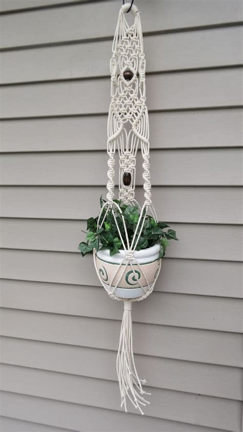 How To Macrame A Plant Holder - macrame plant hanger modern hanging planter white