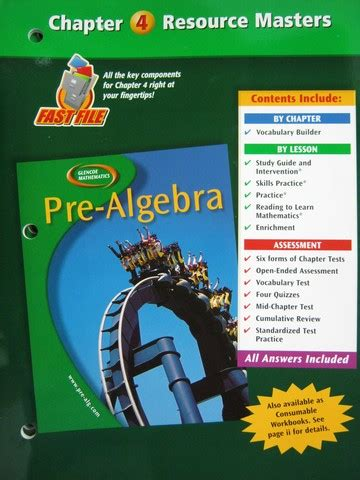 Pre Mba Math Books by Glencoe Mathematics Pre Algebra Chapter 6 Resource Masters