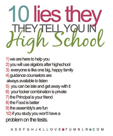 School Quotes High School Quotes And Sayings Now Never Ends 10 Lies