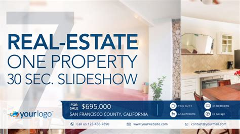 Real Estate One Property 30s Slideshow 7 Final Cut Pro X Template Cut Pro X Slideshow Template