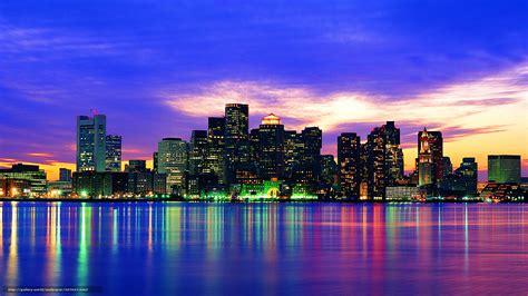 Download Wallpaper Boston Lights City Reflection Free Lights Boston Ma