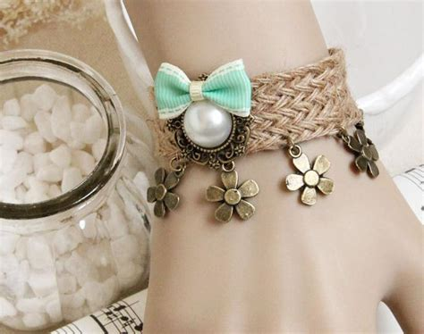 Faux Pearl Flower Bow Rope Bracelet vintage jewelry Handmade Vintage Jewelry MOQ 15 CAN MIX