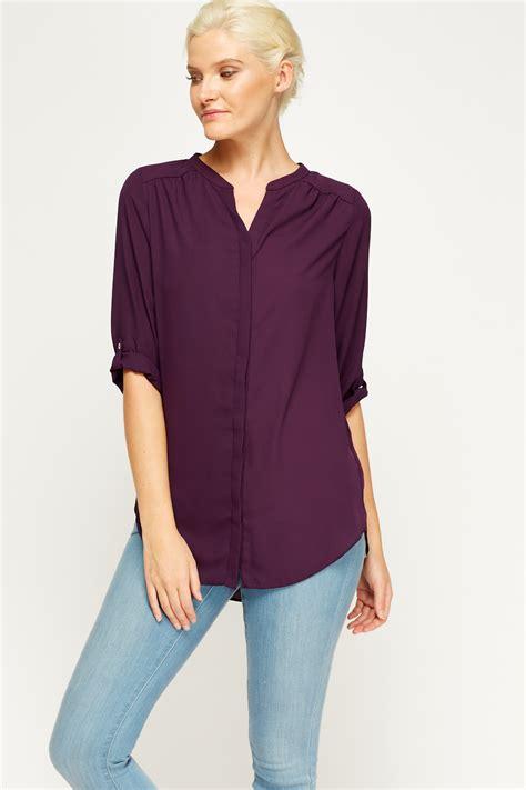 Basic V Knitted Blouse Diskon 2017 purple basic blouse just 163 5