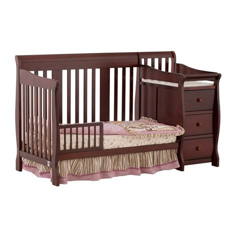4 In1 Crib Amp Changer Combo In Cherry Baby Cribs Combo Baby Cribs With Changer