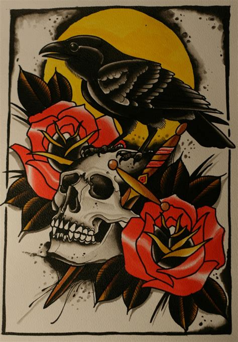 raven with rose tattoo traditional colorful with skull and roses on yellow