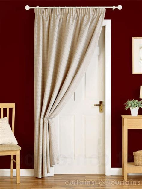 curtains for door natural cream heavy pencil pleat thermal door curtain