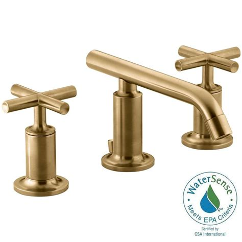 gold faucets bathroom kohler purist 8 in widespread 2 handle low arc bathroom