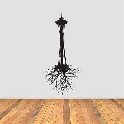 seattle space needle with roots vinyl decal by