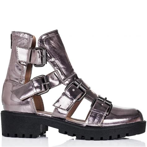 buy buff block heel cut out sandal ankle boots pewter