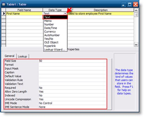 access table design view font how to create tables in access