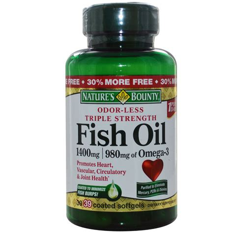Fish Softgels nature s bounty fish 1400 mg 39 coated softgels