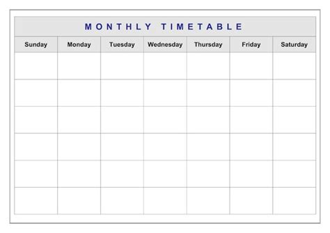 monthly timetable template monthly classroom timetable administration template