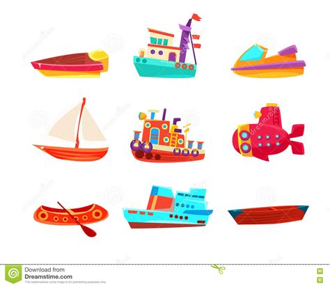 toy boat icon water transport toy boats icon collection stock vector