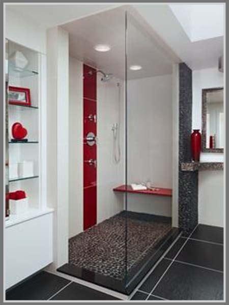 ide desain warna putih  kamar mandi sempit