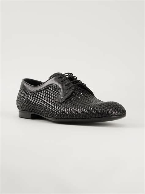 bottega veneta shoes lyst bottega veneta woven derby shoes in black for