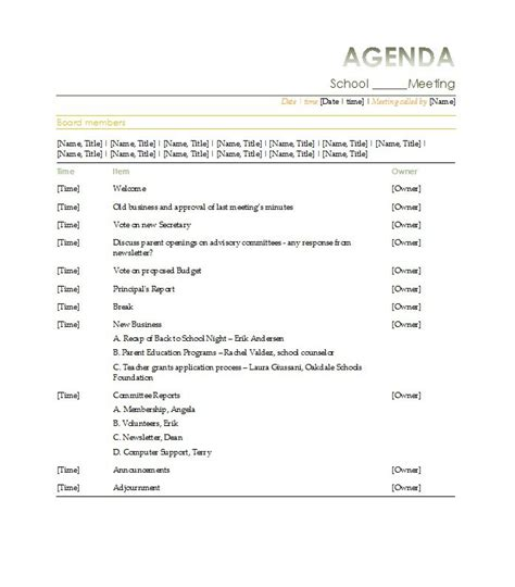 exle of a meeting agenda template meeting agenda template exle for school with