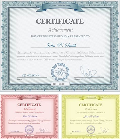 certificate design vector eps commonly certificate cover vector template free vector in