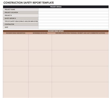 safety statistics report template construction daily reports templates or software smartsheet