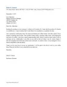 Cover Letter For Starbucks by Barista Cover Letter Freewordtemplates Net