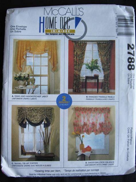 mccalls curtain patterns mccalls home dec in a sec pattern 2788 window treatments