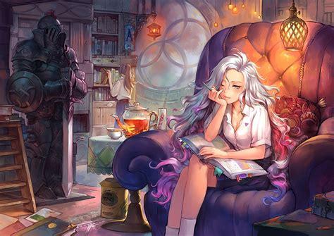 Azuka Top White books anime white hair pencil hair l