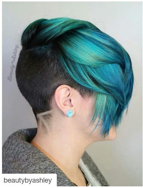 turcquoise short hair styles turquoise teal green dyed hair with shaved sides and back