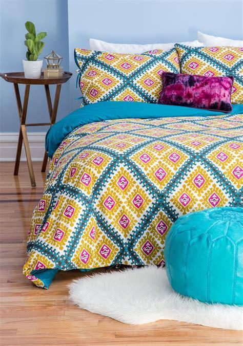 karma living bedding lively dreams duvet cover set in full queen mod retro