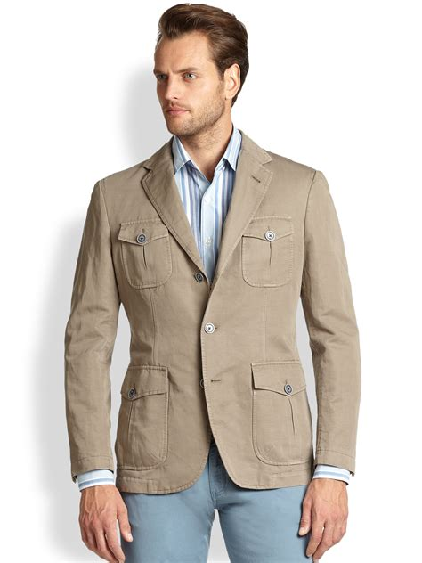 lyst canali cotton linen jacket in brown for