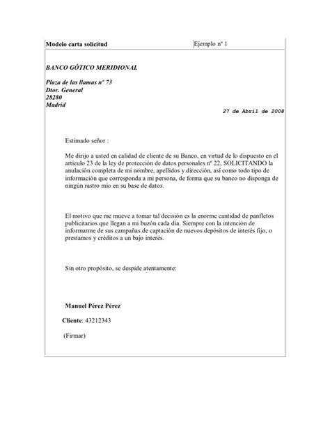 Modelo carta solicitud