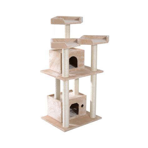 Catok Codos pawhut cat tree tower condo furniture pet scratching post w condos beige aosom ca
