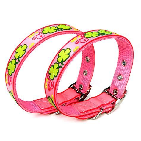 cute pattern dog collars cute pink clover pattern pvc dog collars petsoo com